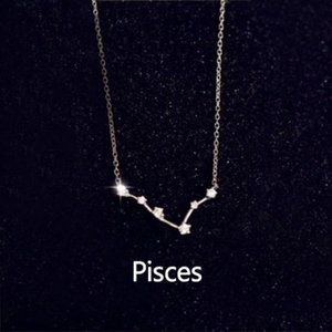 Sterling Silver Diamond Zodiac Necklace--Pisces
